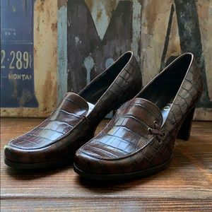 Franco Sarto Lizard Leather Heels Brown Size 8